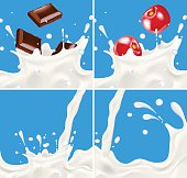 Set of realistic splashing milk