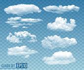 Set of realistic transparent cloudsin blue sky