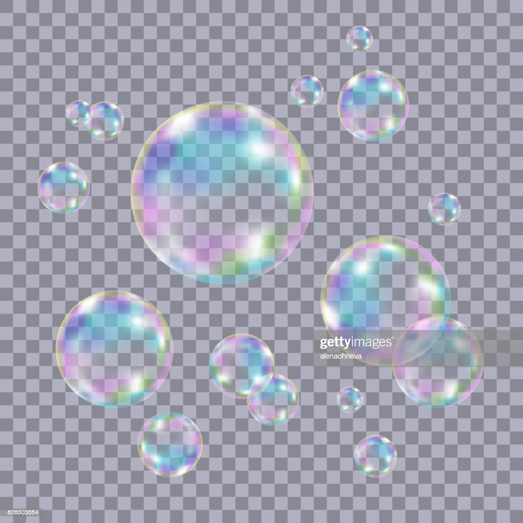 Set of realistic transparent colorful soap  bubbles.