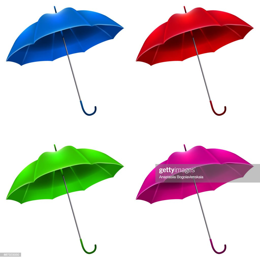 A set of realistic umbrellas. Vector 3d illustration on white background