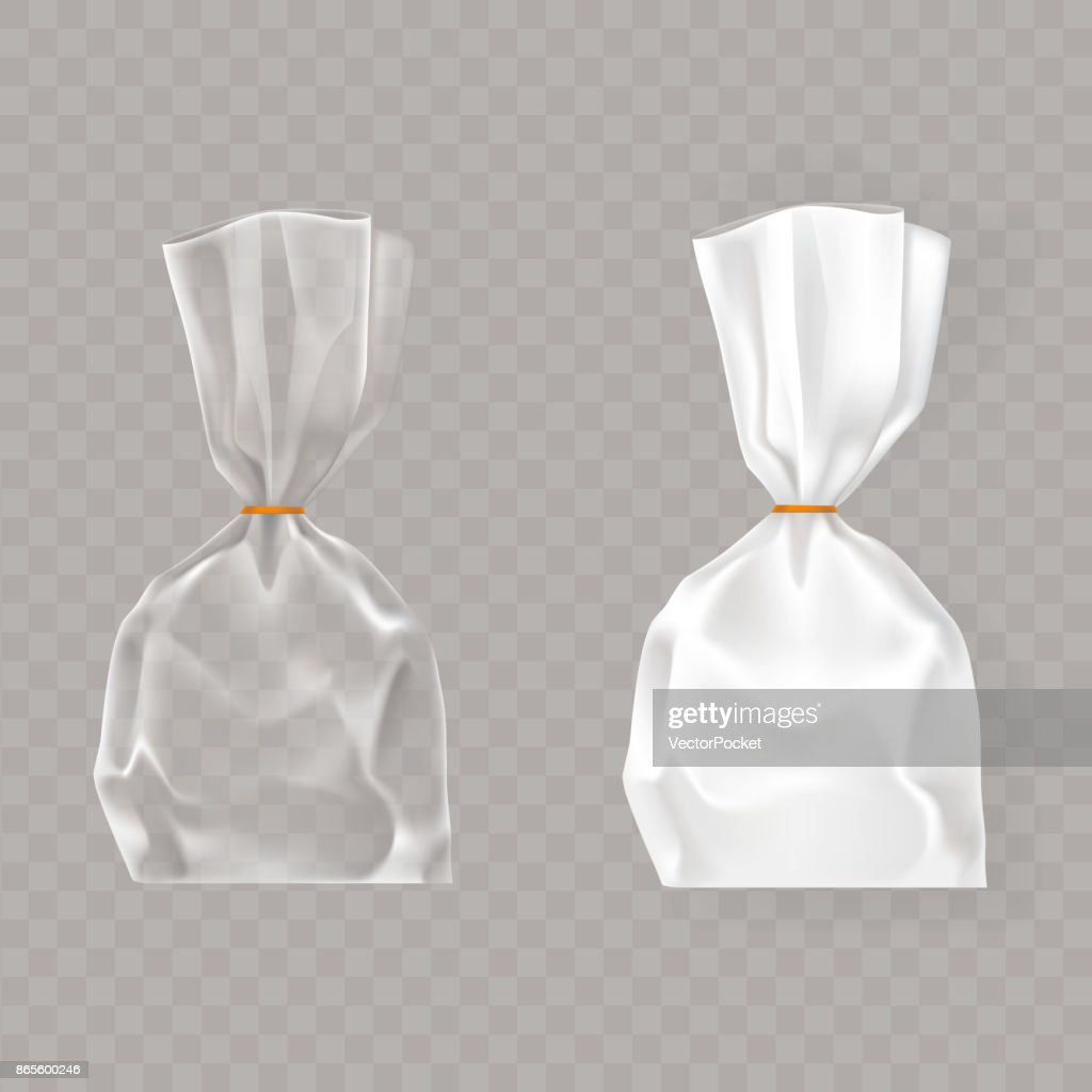 Set of realistic vector illustrations of plastic packages of white and transparent air blown.