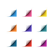 Set of realistic vector paper corners on white background