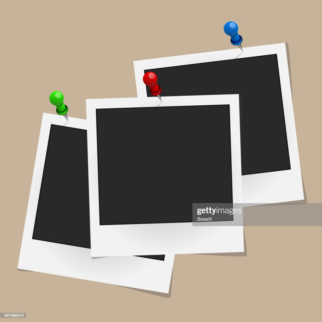 Set of realistic vector photo frames on colored pins isolated on beige background. Template photo design. Vector illustration
