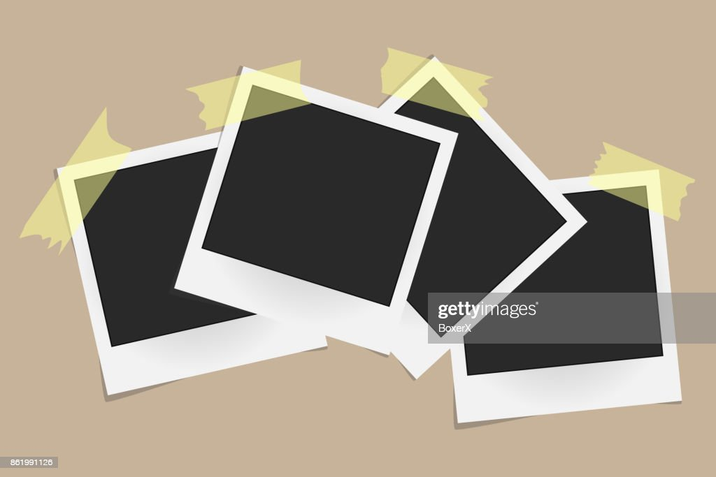 Set of realistic vector photo frames on sticky tape isolated on beige background. Template photo design. Vector illustration