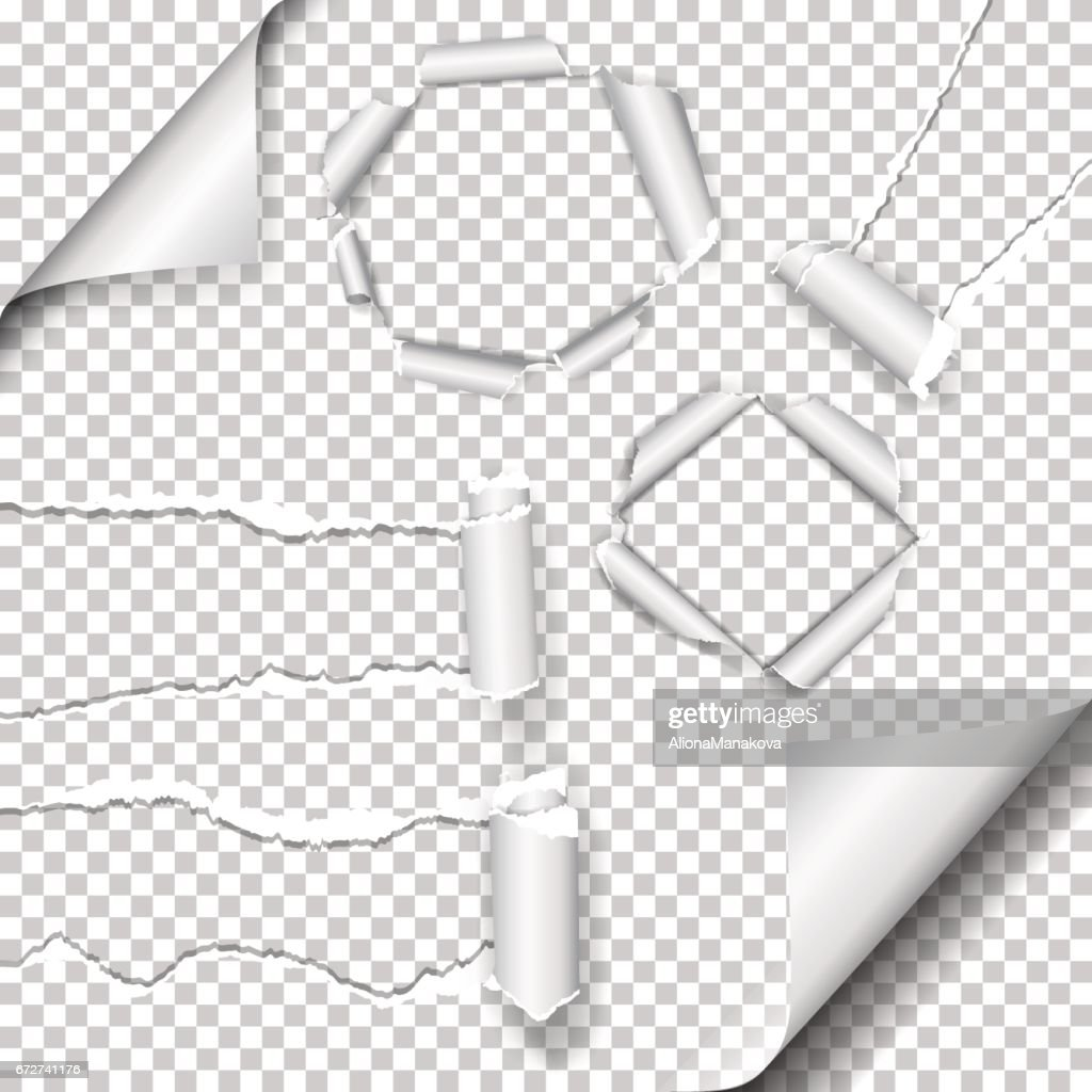 Set of Realistic vector torn paper and hole in the paper with ripped edges with space for your text.