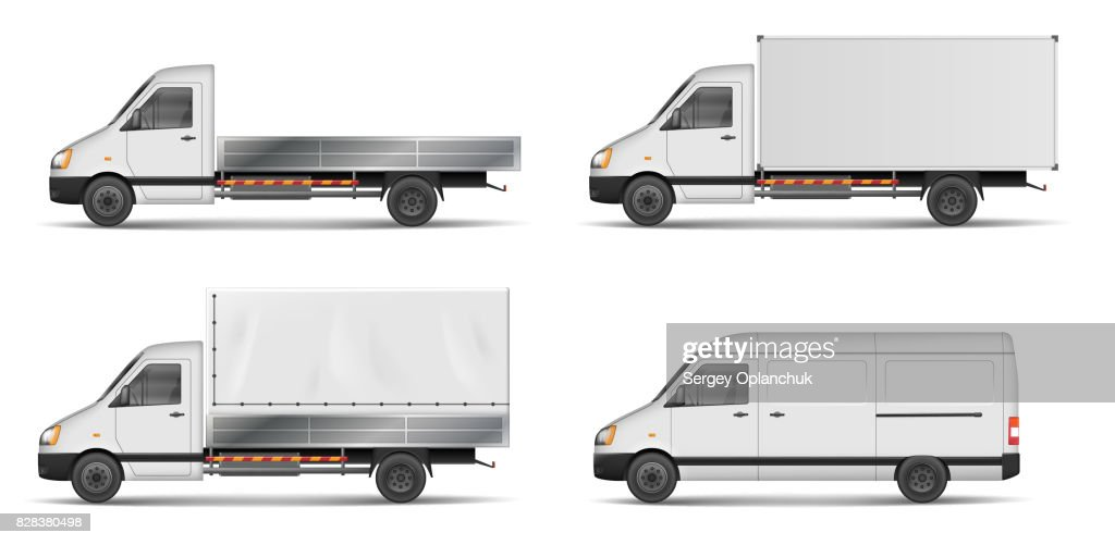 Set of realistic white cargo vehicles. vector illustration with heavy truck, trailer, lorry, Mini bus, delivery van isolated. Side view mockup