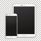 Set of realistic white tablet and mobile phone with empty screen. New electronic gadget collection.