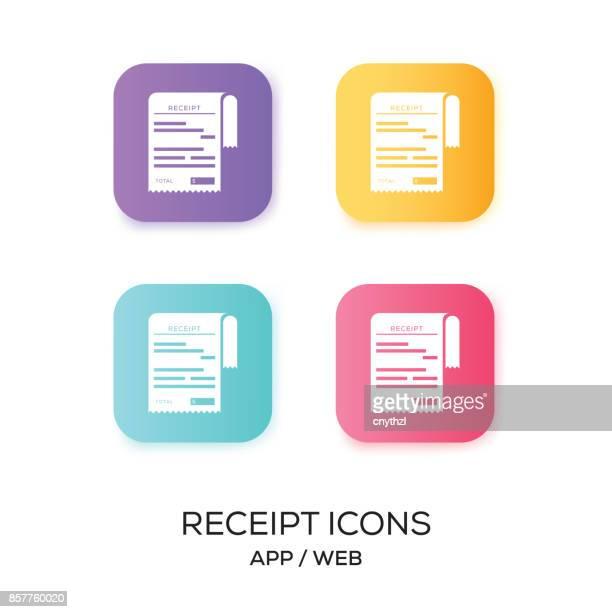 ilustrações, clipart, desenhos animados e ícones de conjunto de ícone de app de recibo - recibo