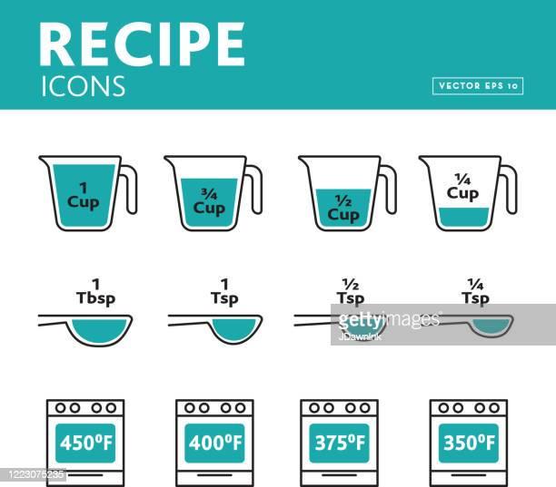 レシピ測定アイコンのセット - ティースプーン点のイラスト素材/クリップアート素材/マンガ素材/アイコン素材