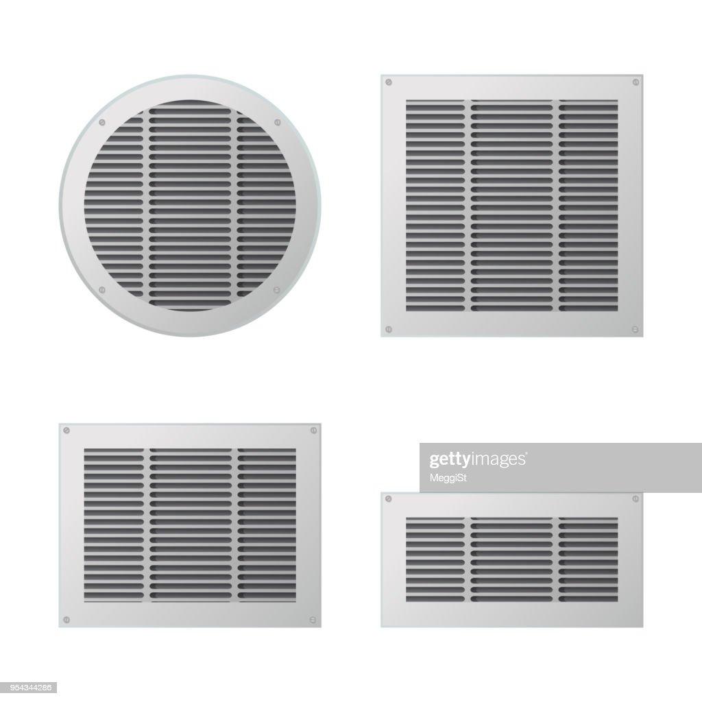 A set of rectangular and circular ventilation grilles.