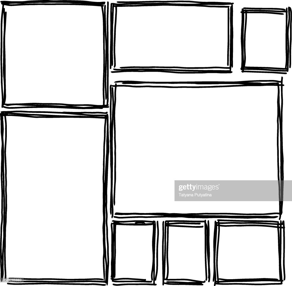Set Of Rectangular Frames Doodles Black White Vector Art | Getty Images