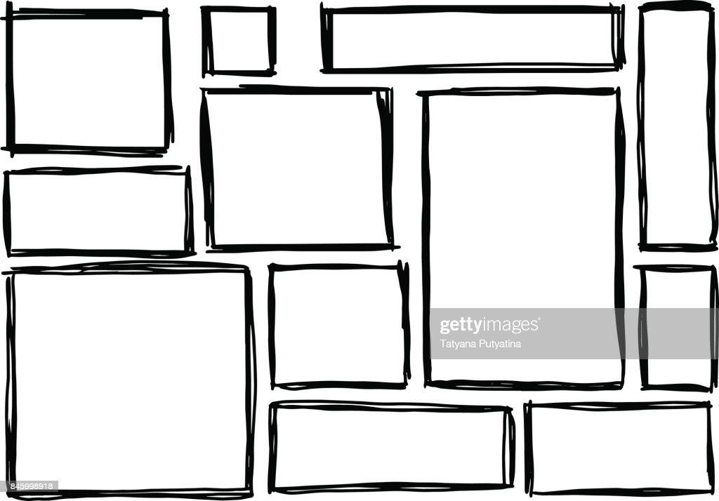 Set Of Rectangular Frames Doodles Black White Vector Art | Getty Images