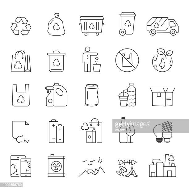 set of recycling, waste management and zero waste related line icons. editable stroke. simple outline icons. - garbage stock illustrations