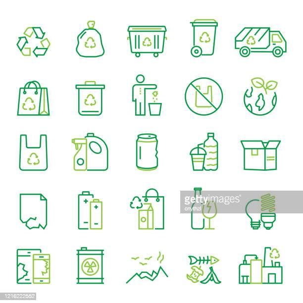 bildbanksillustrationer, clip art samt tecknat material och ikoner med uppsättning av återvinning, avfallshantering och noll avfall relaterade line ikoner. redigerbar linje. enkla konturikoner. - sopor