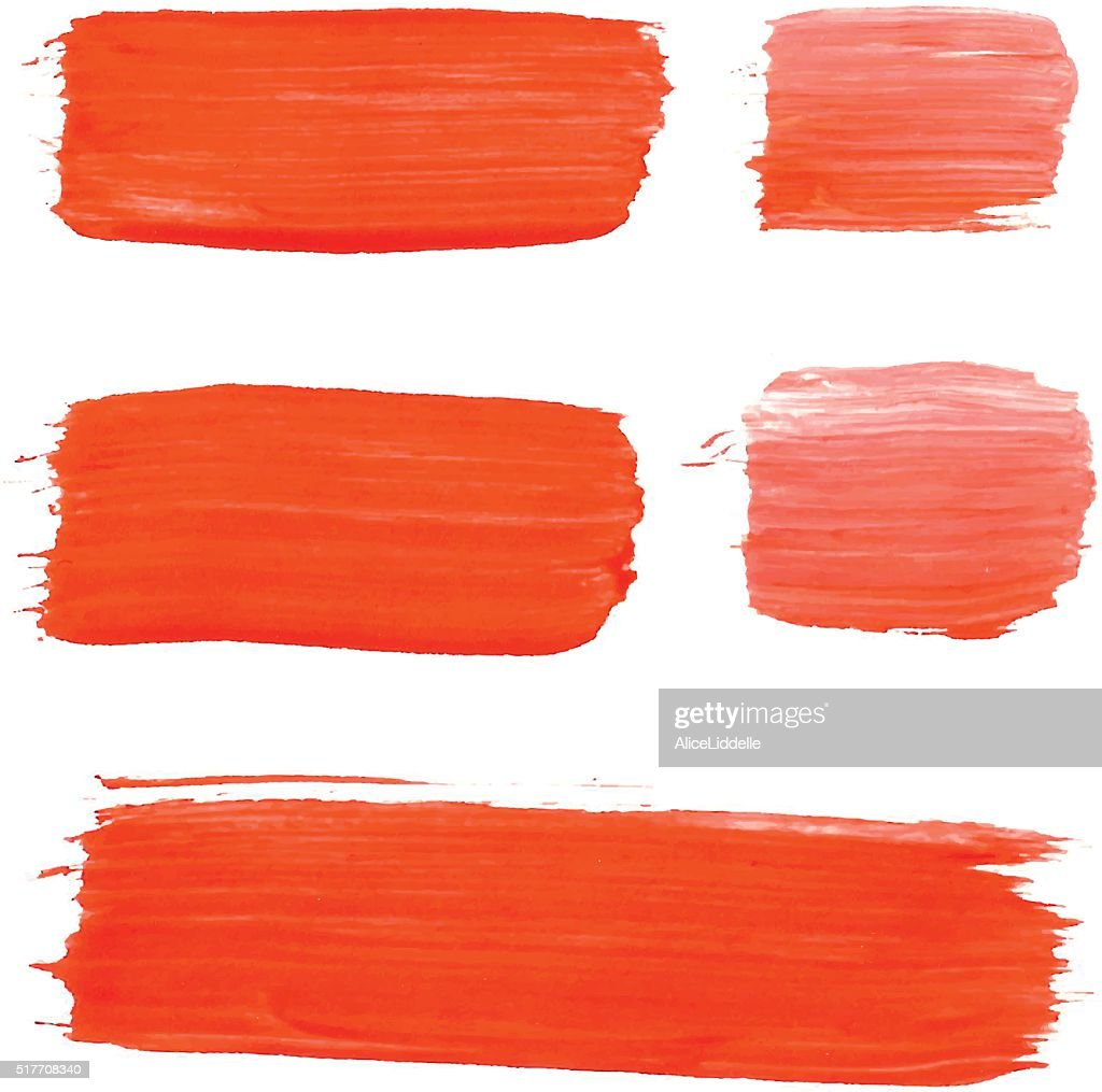 Set of red acrylic brush vector strokes
