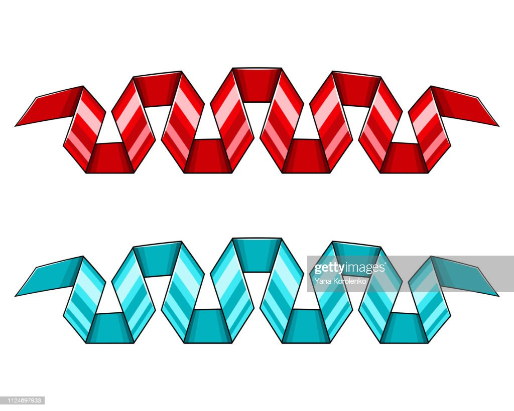 Set of red and blue decorative spiral ribbons banners. Vector illustration.