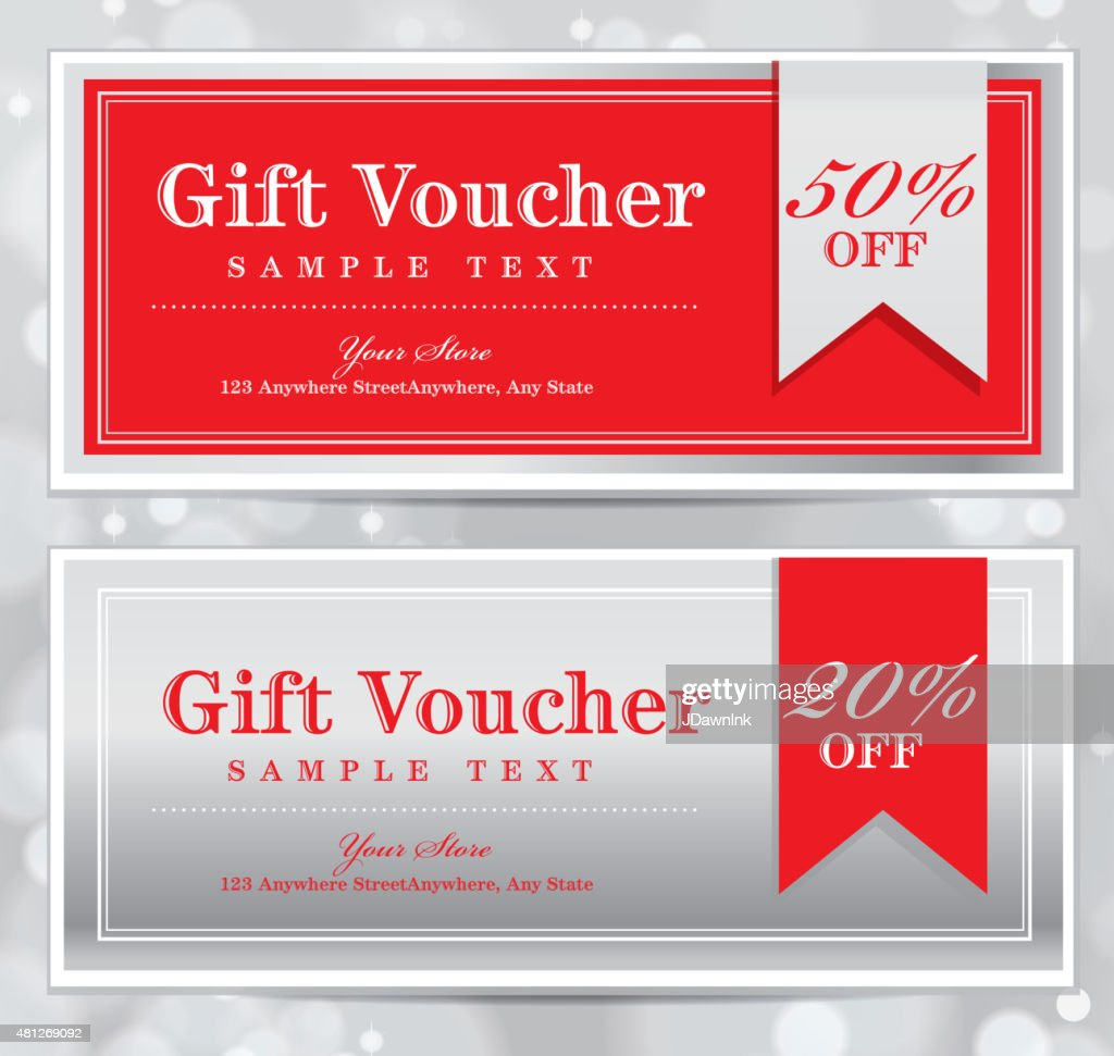set of red and silver printable gift certificate design templates