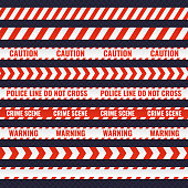 Set of red and white seamless police lines