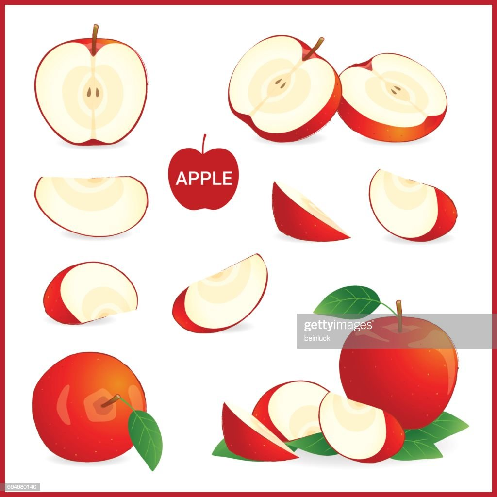 Set of red apple in pieces, whole, slice and half
