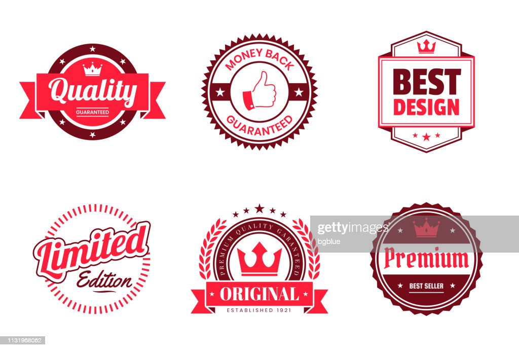 赤いバッジとラベルのセット-デザイン要素 : ストックイラストレーション