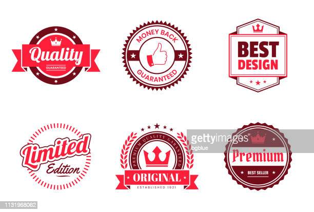 stockillustraties, clipart, cartoons en iconen met set van rode badges en labels-design elementen - award