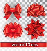 Set of red bows isolated on a transparent background. Vector ribbon tied in a bow. Decoration for a gift. Realistic 3D vector