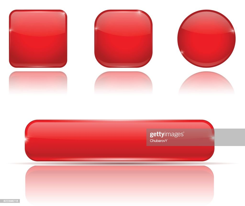 Set of red buttons. Web shiny 3d icons