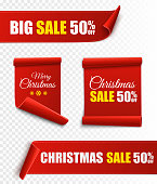 Set of red Christmas banners. Paper scrolls. Vector Xmas sale stickers