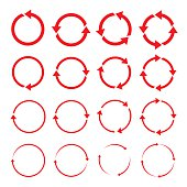 Set of red circle vector arrows