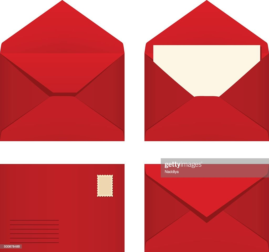 Set of red envelopes. Vector illustration.