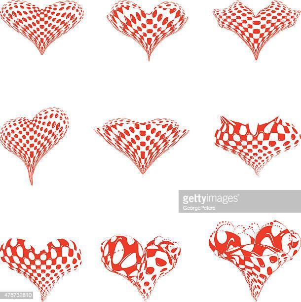 Set of Red Heart Shapes. Line Art, Modern, halftone pattern.