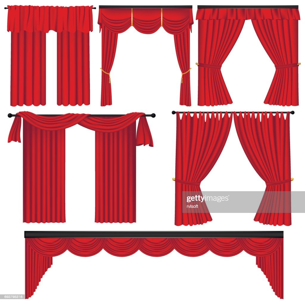 Set of red luxury curtains and draperies