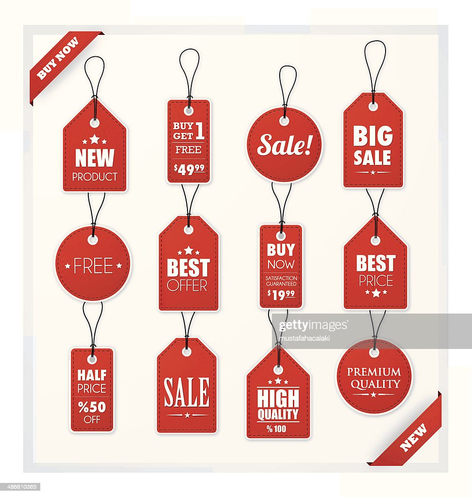Set of red promotion and sale tags