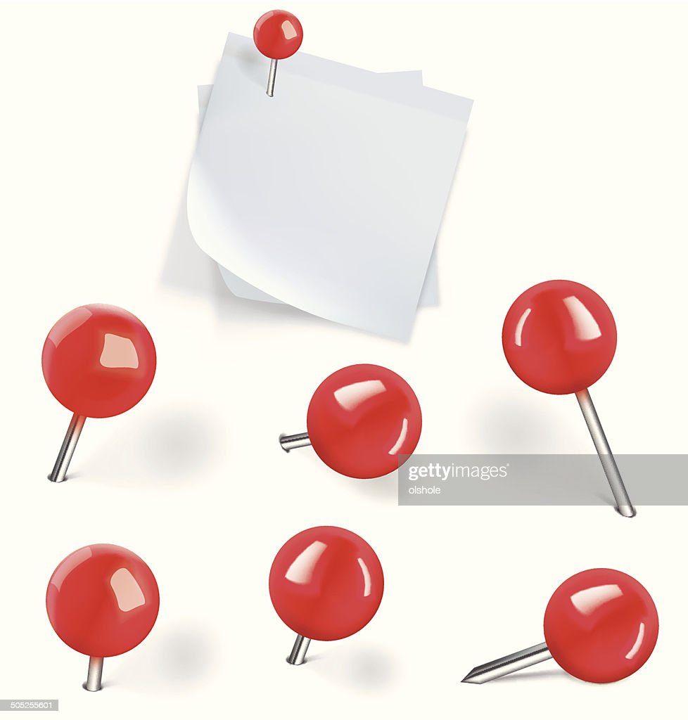 Set of red pushpins and blanks white paper with pushpins