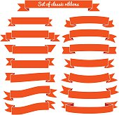 Set of red ribbon banners. Vector illustration
