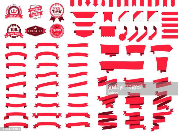 set of red ribbons, banners, badges, labels - design elements on white background - first place stock illustrations