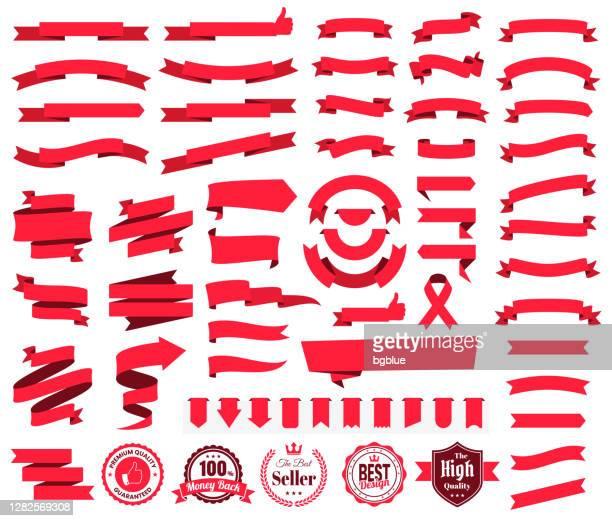 satz von roten bändern, banner, abzeichen, etiketten - design-elemente auf weißem hintergrund - banneranzeige stock-grafiken, -clipart, -cartoons und -symbole