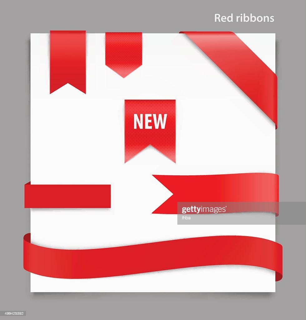Set of red ribbons on white background. Vector illustration