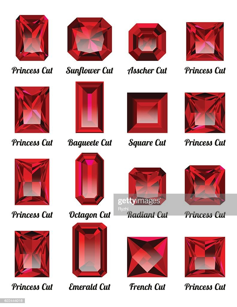 Set of red rubies with rectangle cuts