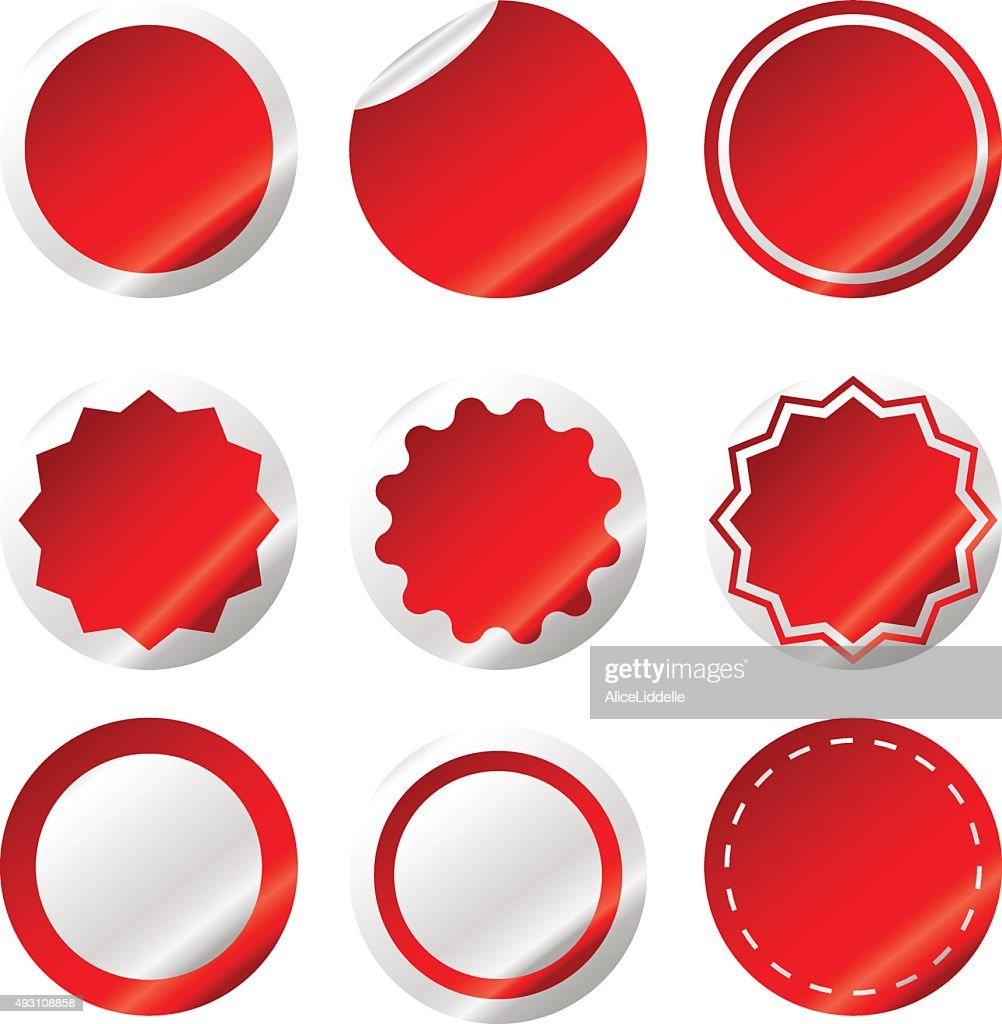 Set of red Sale stickers isolated On White Background