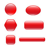 Set of red square and rounded button
