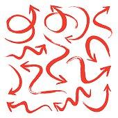 Set of red vector arrows