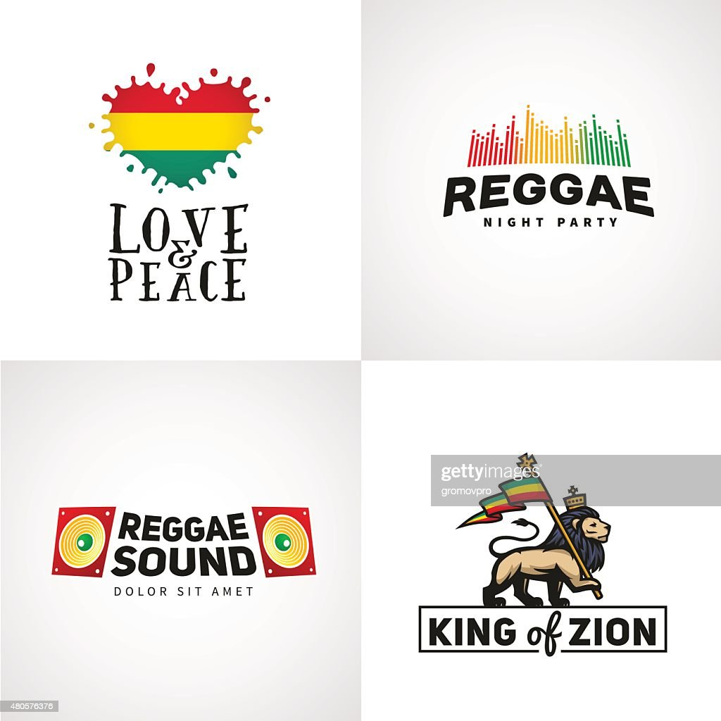 Set of reggae music vector design. Love and peace concept