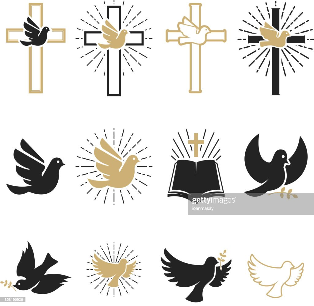 Set of religious signs. Cross with dove, holy spirit, bible.