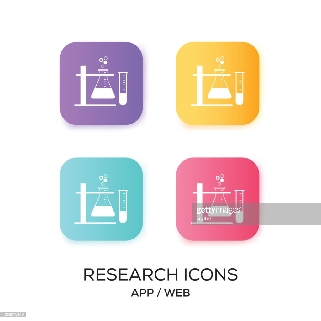 Satz von Forschung-App-Symbol : Stock-Illustration