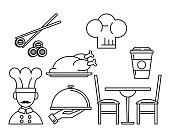 Set of restaurant and food icons black and white lines