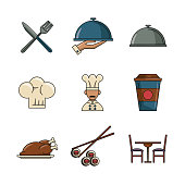 Set of restaurant and food icons