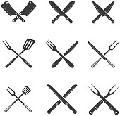 Set of restaurant knives icons. Silhouette - Cleaver and Chef Knives.