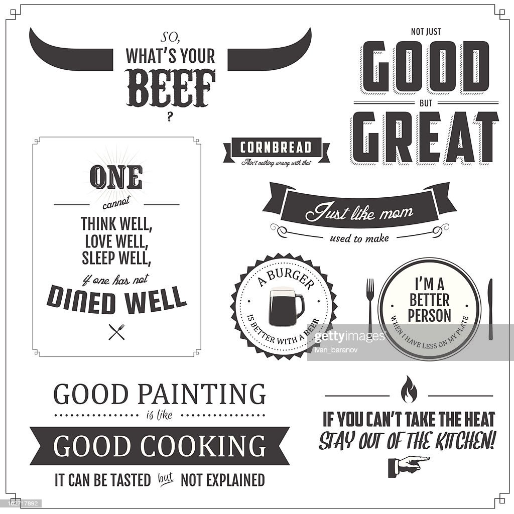 Set of restaurant menu typographic design elements