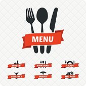 Set of restaurant signs, symbols, logo.